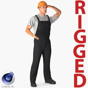 worker black uniform rigged 3D