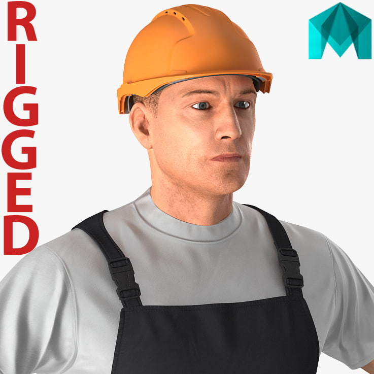 3D worker black uniform rigged