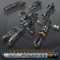 5 low-res spaceships 3D model