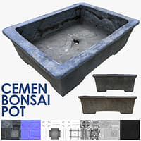 3D cement bonsai pot