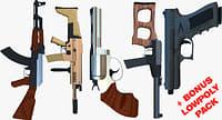 weapons bonus pack scar gun 3D