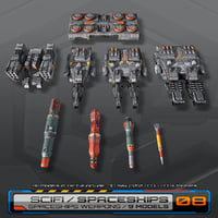 3D sf spaceships weapons model
