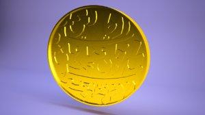 3D dinar gold coin model