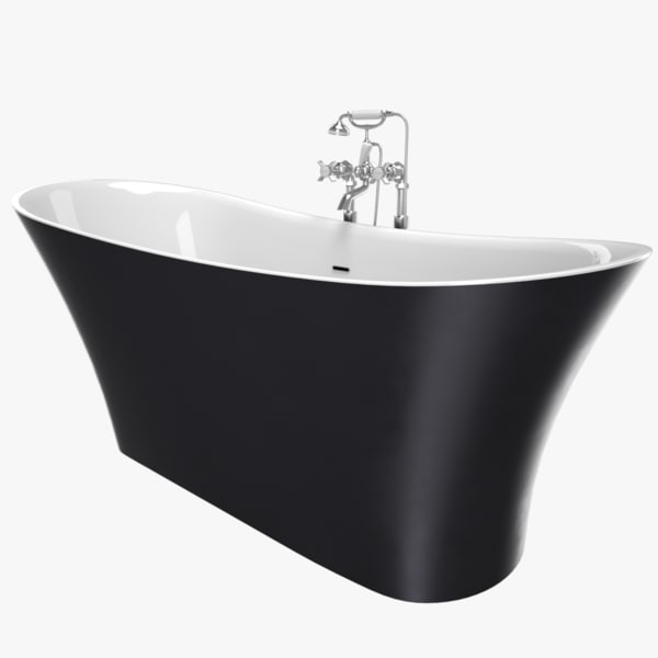 3D vintage bathtub holywell cast iron