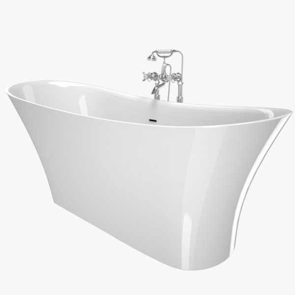vintage bathtub holywell white 3D model