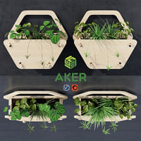 3D hexagon wall planter model