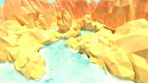 3D cartoon canyon landscape