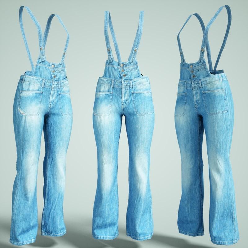salopet jeans 3D model