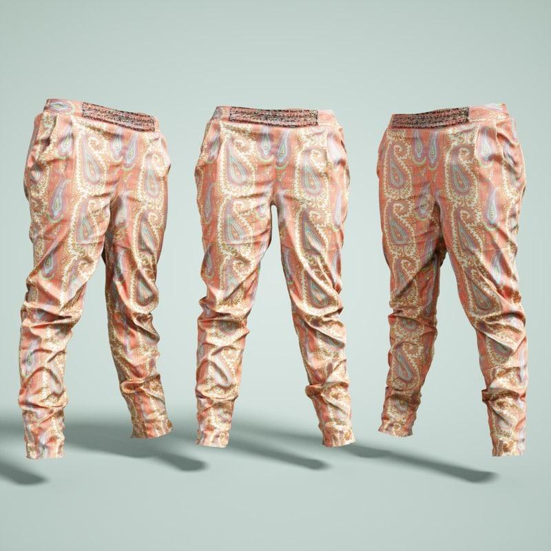 3D pants flower