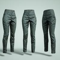 3D model pants black waist