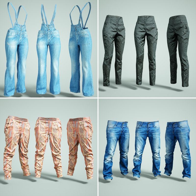 3D trousers clothing jeans