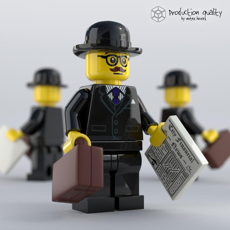 3D lego businessman figure model
