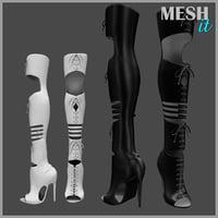 3D knee rocker boots