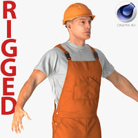 Worker In Orange Overalls Rigged for Cinema 4D