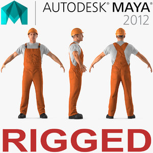 3D worker orange overalls rigged