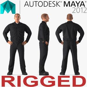 3D model worker rigged works