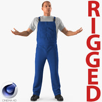 Worker Wearing Boiler Suit Rigged for Cinema 4D