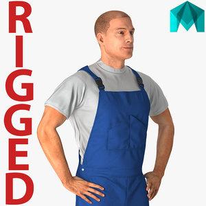 worker wearing boiler suit 3D