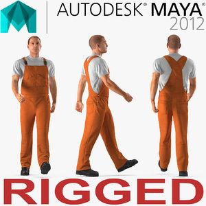 worker wearing orange overalls 3D model