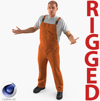 3D worker wearing orange overalls