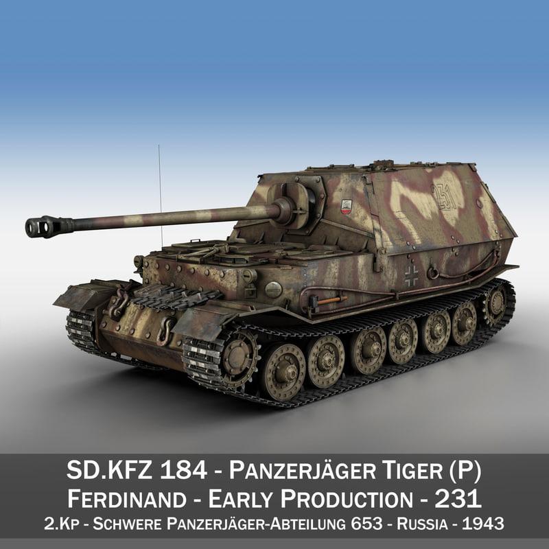 3D model - tiger p ferdinand