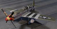 3D plane north american p-51b model