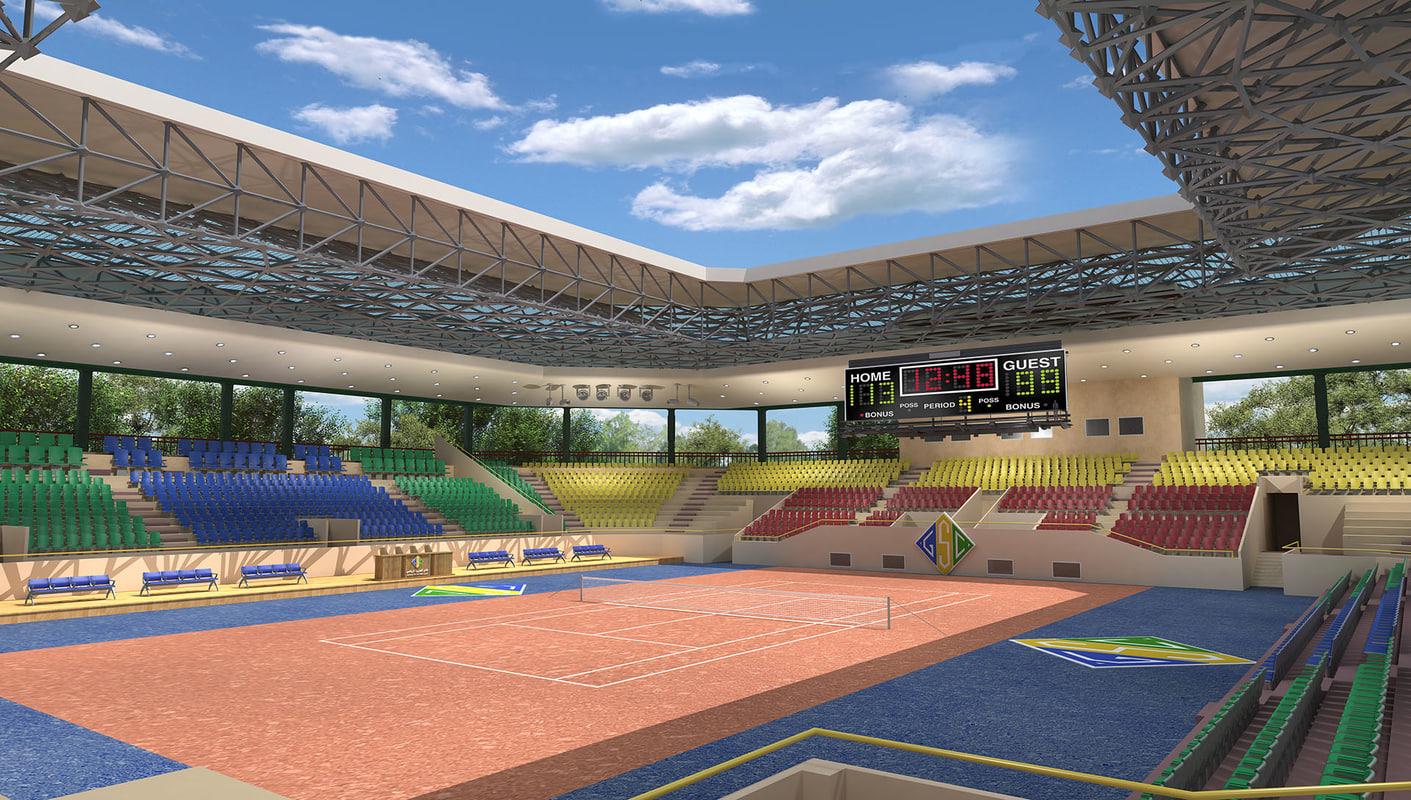 sports court tennis 3D