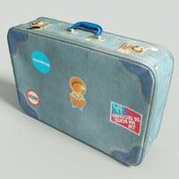 3D vintage suitcase retro model