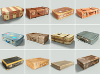 12 Vintage Suitcases Retro Valise Collection