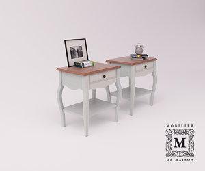 3D bedside table belveder b-st9302s model