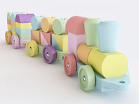 wooden toy train color model