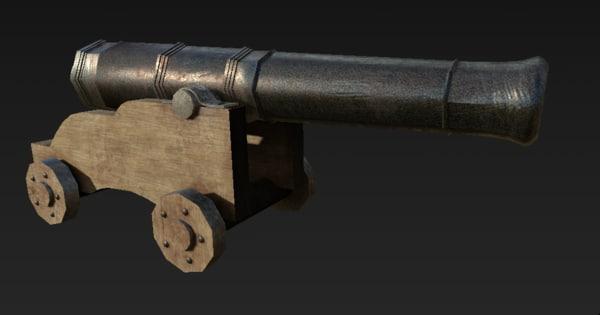 3D model pirate cannon