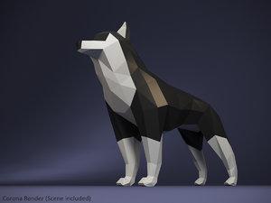 polygonal husky dog 3D model