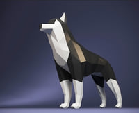 polygonal husky dog 3D model