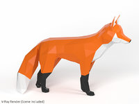 polygonal fox 3D model