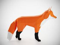 polygonal fox 3D model