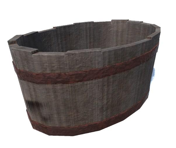 3D old rimmed wooden tank