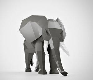 polygonal elephant model