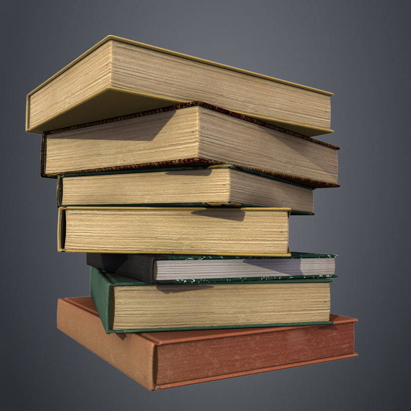 set old books 3D