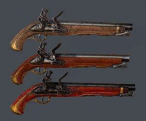3D old musket pistol
