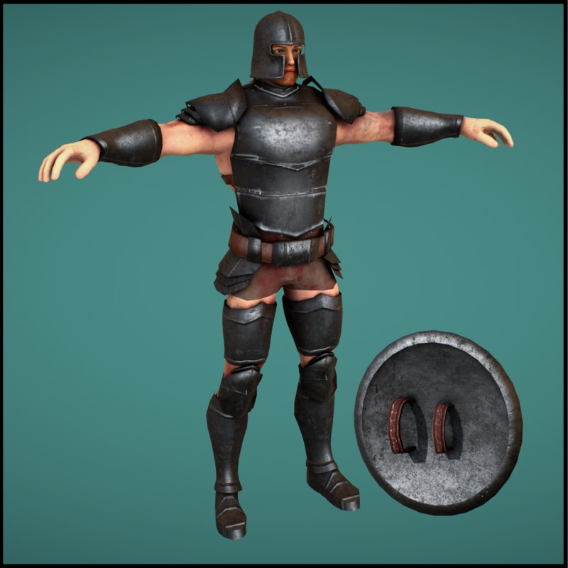 3D medieval armored soldier character