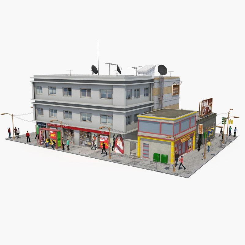 3D realistic populated city block model