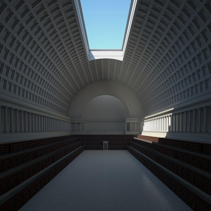 3D library books model