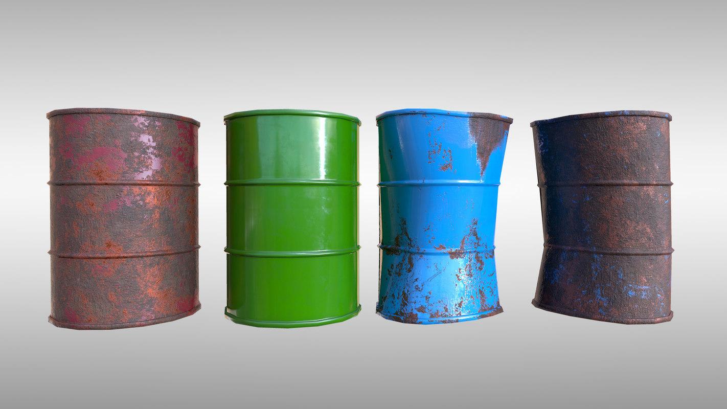 oil barrels pbr - 3D model