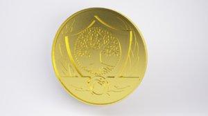 3D gold coin ap model