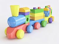 wooden toy train color 3D