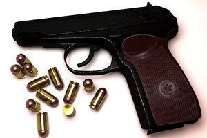 3D makarov pm pistol model