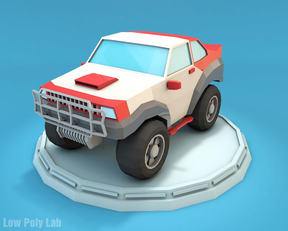 design racing jeep cartoon 3D model