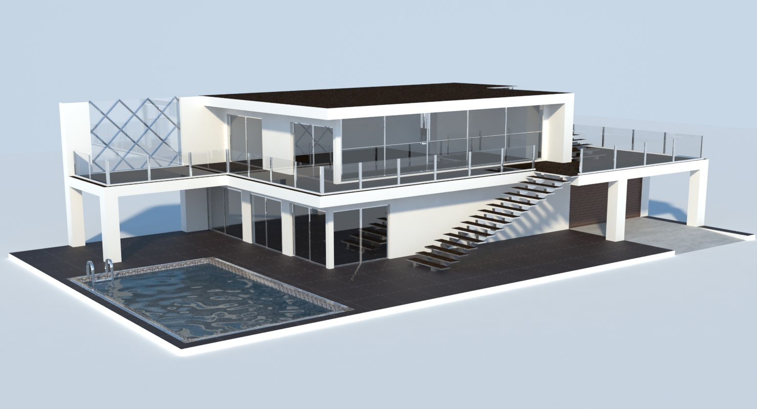 Marvelous 3D Modern House Model; 3D Modern House Model ...