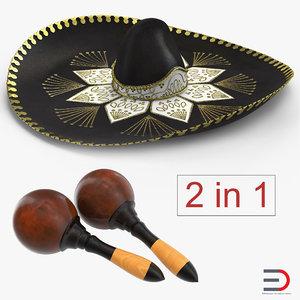 3D model maracas sombrero